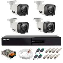 Kit Cftv 04 Cameras Segurança  Hd Dvr Hikvision Full HD 4ch S/ HD -