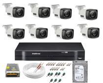 Kit Cftv 08 Cameras Segurança  Hd Dvr Intelbras 1108 C/ HD -