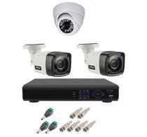 Kit Cftv 3 Camera Segurança Hd 720p Dvr Full hd 4ch - Luatek