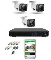 Kit Cftv 3 Câmeras Infravermelho Segurança 1mp 20m Dvr Full Hd 4 Ch S/ Hd c/ conectores Promo - IMPORTADO