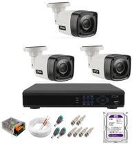 Kit Cftv 3 Câmeras Segurança 1mp 20m Dvr Full Hd 4 Ch c/ Hd 1tb - Citrox