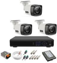 Kit Cftv 3 Câmeras Segurança 1mp 20m Dvr Full Hd 4 Ch c/ Hd - Citrox