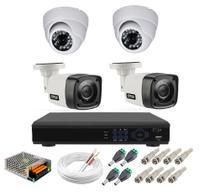 Kit cftv 4 cameras de segurança hd 2 internas dome e 2 externas bullet + dvr 4ch full hd - Citrox