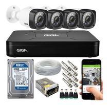 Kit Cftv 4 Câmeras de Segurança Infra Hd 720p Gs0020 E Dvr Gs0082 Giga Security - GIGA Security / Multilaser