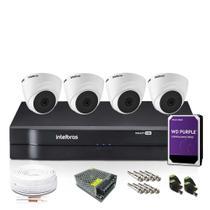 Kit CFTV 4 Câmeras de Segurança Intelbras Dome 720p -