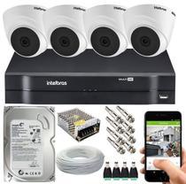 Kit Cftv 4 Câmeras De Segurança Intelbras Dome IR E Dvr Mhdx 1104 Multi Hd -