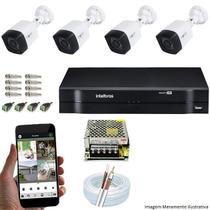 Kit Cftv 4 Câmeras Inova MULTHD 1020B Bullet 720p Dvr 4 Canais Intelbras MHDX + Acessórios -