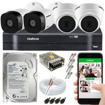 Kit CFTV 4 Câmeras Intelbras Internas e Externas 100% INTELBRAS -