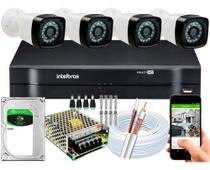 Kit Cftv 4 Cameras Segurança 1080p Full Hd Dvr Intelbras 500GB -