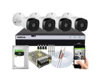 Kit Cftv 4 Cameras Segurança 1220b 1080p Intelbras - Dvr 3104 -
