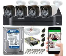 Kit Cftv 4 Câmeras Segurança Hd 720p Dvr Mhdx Intelbras -