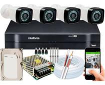 Kit Cftv 4 Cameras Segurança HD Full Hd Dvr Intelbras 4ch -