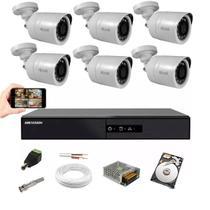 Kit CFTV 6 Câm Hilook THC-B110C Dvr 4x1 Hikvision DS-7208 HD -