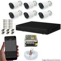 Kit Cftv 6 Câmeras AHD-M 720P 3,6MM Dvr 8 Canais Visionbras XVR 720p + ACESSORIOS -