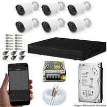 Kit Cftv 6 Câmeras AHD-M 720P 3,6MM Dvr 8 Canais Visionbras XVR 720p + HD 2 TB -