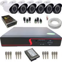 Kit cftv 6 Câmeras Bullet AHD 1.3 Megapixel 36 Leds Infravermelho + DVR 8 Canais Multi HD - Power