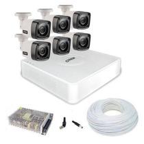 Kit cftv 6 câmeras de segurança de alta definição c/ dvr 4ch citrox full hd + acessórios -