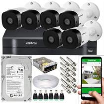 Kit Cftv 6 Câmeras De Segurança Hdcvi 1.0mp e Dvr MHDX 1108 C/ 500GB - Intelbras