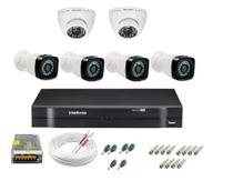 Kit cftv 6 cameras de segurança infravermelho hd + dvr 8ch Intelbras full hd -