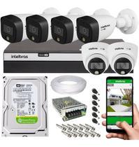 Kit Cftv 6 Câmeras De Segurança Intelbras 1080p Colorido A Noite Mhdx 3108 C/ 500GB -