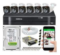 Kit Cftv 6 Câmeras De Segurança IR20 Ahd 1.0mp e  Dvr Mhdx 1108 Intelbras -