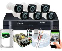 Kit Cftv 6 Câmeras HD Dvr Intelbras Mhdx 1108 Full Hd c/hd -