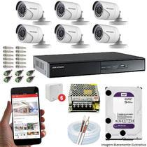 Kit CFTV 6 Câmeras Hikvision DVR 8 canais DS-7208 HD 2TB WD -