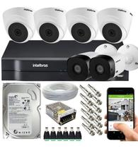 Kit Cftv 6 Câmeras Segurança DVR Intelbras Mhdx 1108 -