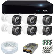 Kit CFTV 6 Câmeras Segurança FULL HD 1080p 20 Metros+ Dvr 8 Canais Giga Serie Orion Open HD GS0181 + Acessórios - GIGA SECURITY