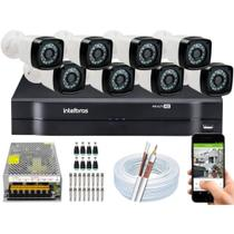 Kit Cftv 8 Camera de Segurança Infravermelho Hd Dvr Intelbras 1108 S/ HD -