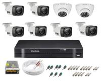 Kit cftv 8 cameras de segurança infravermelho hd + dvr 8ch Intelbras full hd + acessórios -