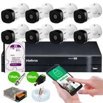 Kit Cftv 8 Cameras de Segurança VHL 1120 B Dvr MHDX 1108 Canais Intelbras -