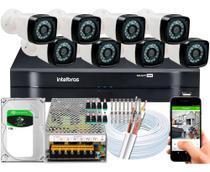 Kit Cftv 8 Câmeras HD Dvr Intelbras Mhdx 1108 Full Hd c/hd -