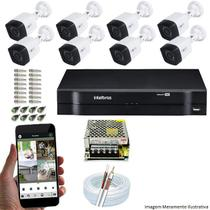 Kit Cftv 8 Câmeras Inova MULTHD 1020B Bullet 720p Dvr 8 Canais Intelbras MHDX + Acessórios -