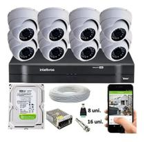 Kit Cftv 8 Câmeras Segurança Dome Ir Dvr Mhdx 1108 Intelbras -