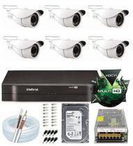 Kit Cftv 8 Canais Intelbras 6 Câmeras 2 Mega Full Hd 1080p - Dvr Intelbrás