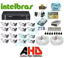 Kit Cftv Ahd 16 Camera 720p Hd Ir+dvr 16 Canais Intelbras - Dvr Intelbrás
