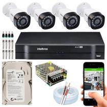 Kit Cftv Intelbras 4 Câmeras Segurança Full Hd 1220 2mp 1104 -