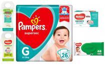 Kit Cha De Bebe Fralda Pampers P, Lencinho, Shampoo, Condicionador, sabonete Infantil -