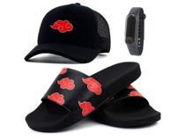 Kit Chinelo Bone Masculino Relogio Anime Naruto Akatsuki 43/44 - Methodic