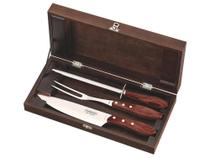 Kit churrasco 4 pcs polywood vermelho sortidos com laminas de aco inox e cabos de madeira tramontina -