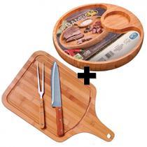Kit Churrasco 4 Pecas em Bambu com Badeja Tabua de Carne Faca e Garfo Mor -