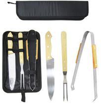Kit churrasco c/ faca, garfo, pegador de metal cabo madeira - Top Rio