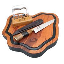 "Kit churrasco gourmet  - tábua de corte rústica + faca 8"" aço inox + garra de urso  kittacd0011 - Woodbull"