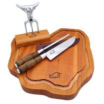 "Kit churrasco origens - tábua de corte rústica + faca e chaira aço inox 8""  e garfo tridente kittacd0006 - Woodbull"