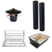 Kit Churrasqueira Gourmet Completa Aço Carbono Preto - Makeer grill