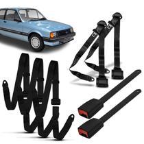 Kit Cinto Segurança Completo 3 Pontos Dianteiro Traseiro Abdominal Chevette 1985 a 1993 Preto - Dialp