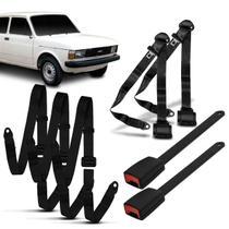 Kit Cinto Segurança Completo 3 Pontos Dianteiro Traseiro Abdominal Fiat 147 1978 a 1987 Preto - Dialp