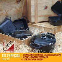 KIT CIRON COKWARE 1 Panela Ferro 20x20cm +1 Panela Ferro Tampa de Vidro 24cm +1 Cx Madeira (PN001PR) - Ciron Cookware