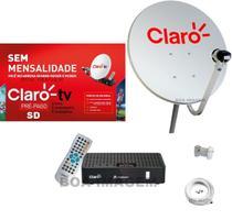 Kit Claro Tv Pré-Pago SD Mercantil  1 Receptores Digital + Antena 60 cm - Visiontec